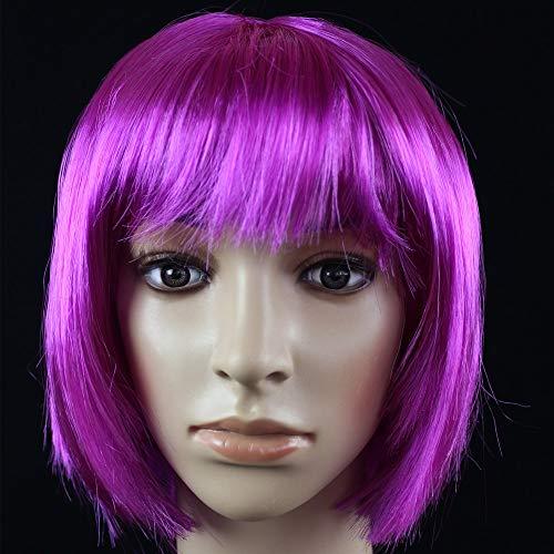 JKL African Female wig Short Hair wig Black Hair wig Small Volume Explosion Headgear European and American Hot wig Set (Color : Purple-A)