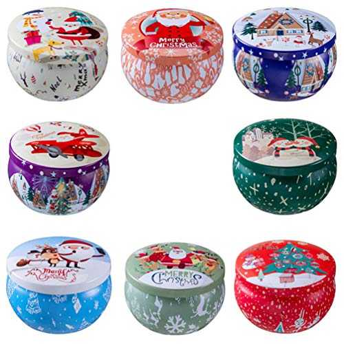 MILISTEN 8 Stücke Weihnachten Duftkerze Aroma Kerzen Teelicht Geschenkset Bio Natürliches Sojawachs Blechdose mit Deckel Sojakerzen für Stressabbau Yoga Aromatherapie Massage Wachs
