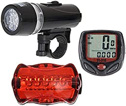 Christmas Hot Sale!!!Kacowpper Bicycle Accessory Combination, Package Includes Bicycle Speedometer + 5 LED Cycling Head Light + Rear Lamp