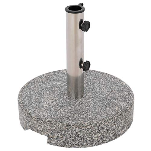 Nexos Sonnenschirmständer Grau rund 25 kg standfest poliertes Granit Edelstahlrohr mit Reduzierhülsen poliert 38x38 cm