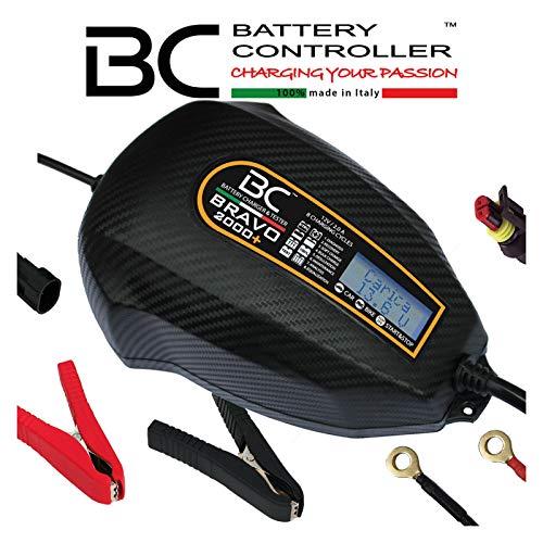 BC Battery Controller BC BRAVO 2000+, Caricabatteria e Mantenitore Digitale LCD, Tester di Batteria e Alternatore per tutte le Batterie Auto e Moto 12V Piombo-Acido, 2 Amp