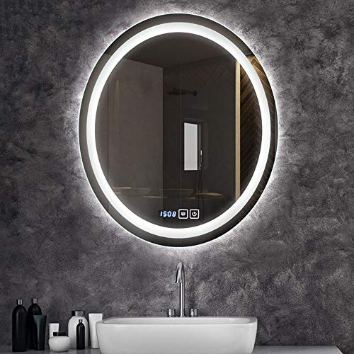 Bathroom Mirror Led Illuminated Lighted Makeup Vanity Cosmetic Oval Wall Mounted Light Frameless Vertical Installation