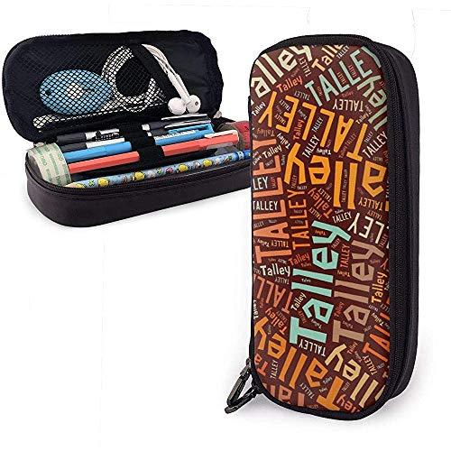 Talley - Apellido americano Estuche de cuero de gran capacidad Estuche de lápices Estuche de lápices Papelería Organizador Bolígrafo de maquillaje escolar Estuche de papelería para estudiantes