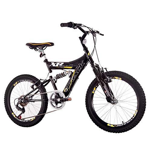 Bicicleta Aro 20 XR Preta e Amarela Suspensão Full 6v MTB, Track Bikes