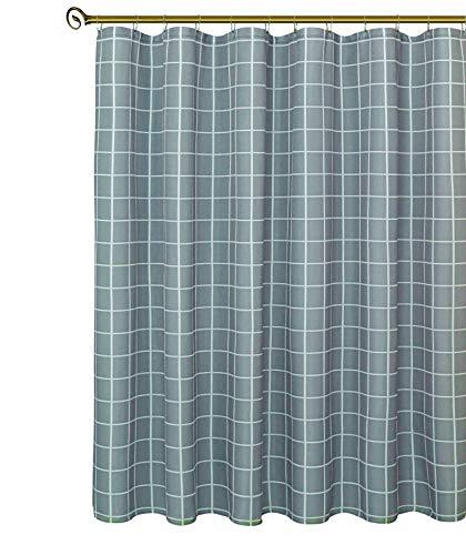 Biscaynebay Duschvorhang, strukturierter Stoff, kariert, bedruckt, für Badezimmer, Grau, 183 x 213 cm