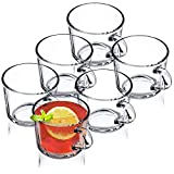 KADAX Juego de 6 vasos de té, vasos con asa, vasos de cristal para 6 personas, aptos para lavavajillas, vasos para té, café, agua, zumo, zumo, agua, agua, zumo, zumo, agua, juego de vasos