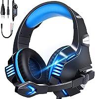 【令和 型号】游戏耳机 ps4 头戴式耳机 有线 高音质 LED 带麦克风 switch FPS PC 耳机 麦克风 降噪 头戴式 重低音 强化 降噪 轻便 可伸缩 男女通用 适合Xbox One PUBG。