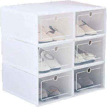 Reuvv - Zapatero de plástico transparente, resistente y duradero, organizador de zapatos con tapa, caja de almacenamiento para el hogar: Amazon.es: Hogar