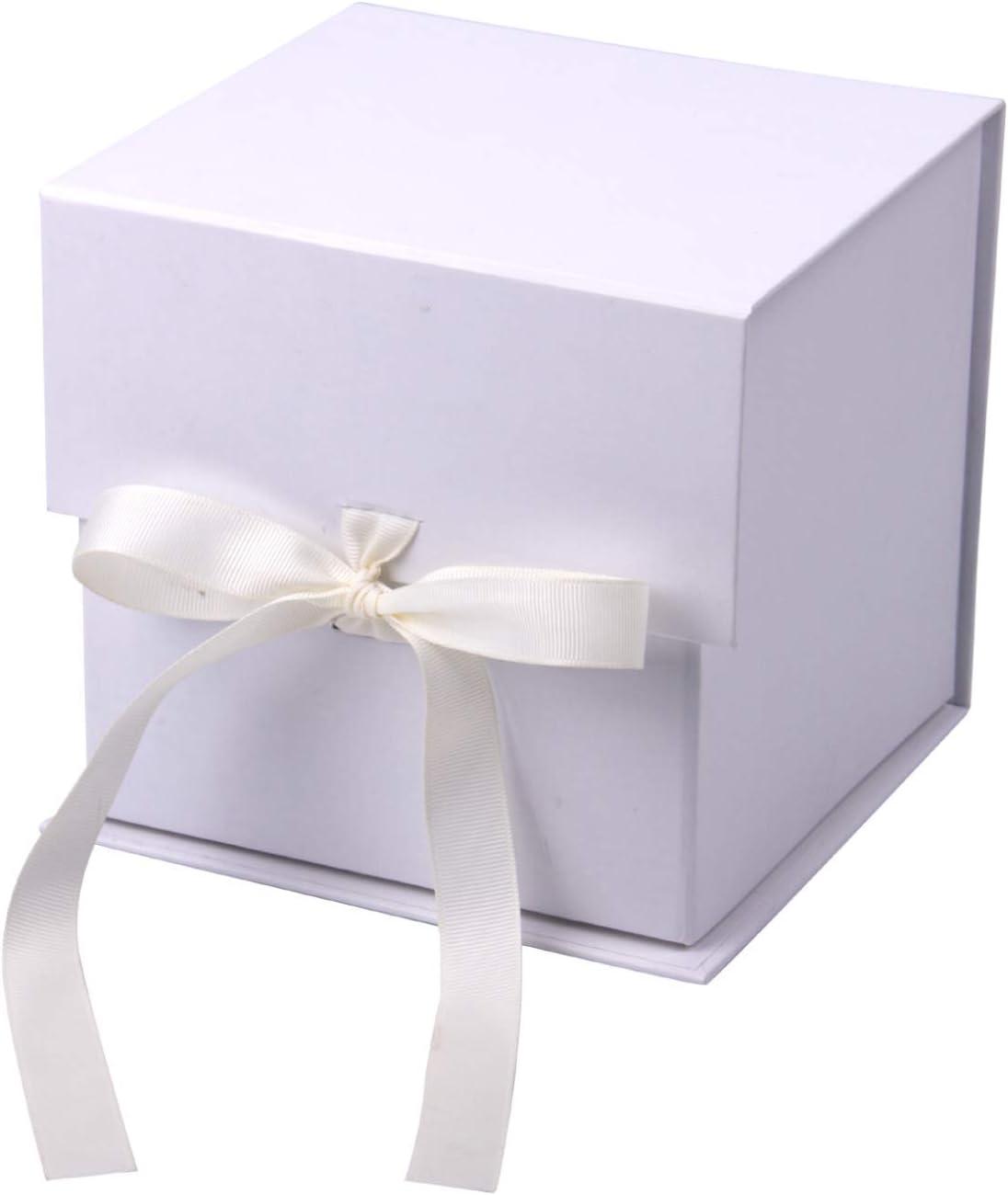 RUSPEPA Caja De Regalo Blanca De 2 Piezas con Cinta De Grosgrain, Caja De Regalo Plegable De 15.3X15.3X15.3 CM con Cierre Magnético para Taza De Café, Fiesta, Boda, Envoltura De Regalo,Almacenamiento: Amazon.es: