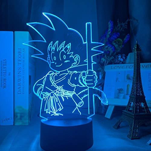 Luz de Noche 3D Anime Ilusión Lámparas de decoración LED 3D Lámpara de Regalo para Luz de Dormitorio Sensor táctil LED Lámpara de EscritorioJoven Goku 2