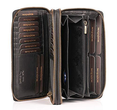 MATADOR Damen/Frauen Geldbörse TÜV Geprüfter RFID & NFC Schutz Portemonnaie Rinds Leder Geldtasche mit Doppelter Metall Reißverschluss viele Kartenfächer (Schwarz)