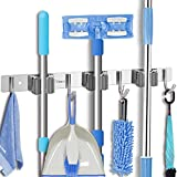 Tsmine Broom Holder Organizers and Storage Stainless Steel Mop Holder Wall Mounted Garden Tool Heavy Duty Rack Hooks for Garage,Home,Kitchen,Bathroom,Closet and Shed (3 Racks 4 Hooks)
