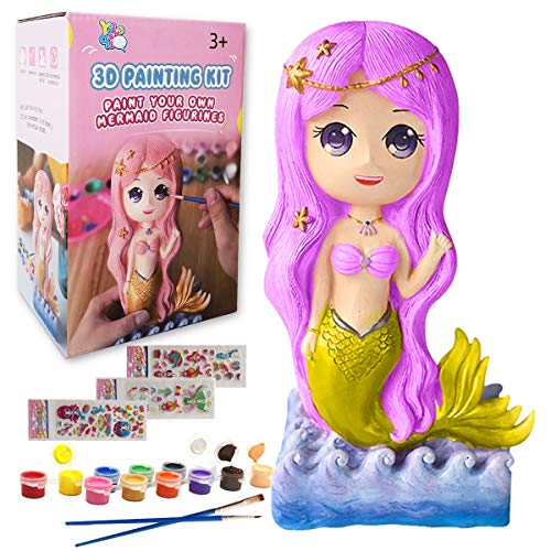 Yileqi Kids Crafts and Arts Mermaid Painting Kit, Party Favors Mermaid Toy Paint for Kids Crafts for Girls Ages 4 6 8 12 Years Old, Gifts for Girls Boys Non Ceramic Paint Set Birthday Gift Supplies