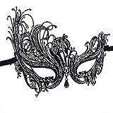 Ndier Mscara veneciana para mujer con diamante de metal fino, mscara de encaje sexy de Halloween para fiestas de disfraces, bodas, Mardi Gras, carnaval y baile veneciano, color negro