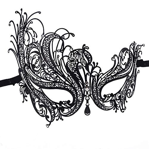 Ndier - Máscara veneciana de mujer con diamante de metal fino, máscara de encaje sexy de Halloween para fiestas de máscaras, bodas, Mardi Gras, Carnaval y danza veneciana, color negro