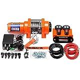 Winchmax 3.000 libras (1.361 kg) Cabrestante eléctrico original naranja de 12v. Dyneema Rope, control remoto inalámbrico doble.