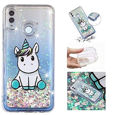 HopMore Funda Silicona para Huawei P Smart 2019 / Honor 10 Lite Glitter Liquido 3D Brillante Purpurina Transparente Dibujo Carcasa Resistente Antigolpes Caso Protección para Chicas Mujer - Unicornio