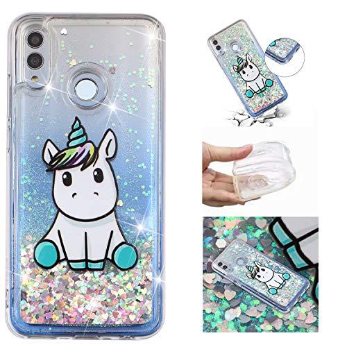 HopMore Cover per Huawei P Smart 2019 / Honor 10 Lite Silicone Morbido Brillantini 3D Trasparente con Disegni Custodia Morbide Trasparenti Brillante Glitter Antiurto Case Protettiva - Unicorno