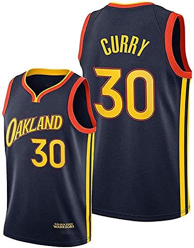 Maglie da Basket da Uomo, Stephen Curry Warriors # 30 Abbigliamento da Basket Cool Traspirante Swingman Canotta Senza Maniche,Nero,M:170~175cm