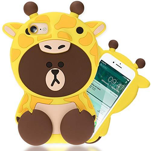 NALIA 3D Cover compatibile con iPhone SE 2020/8 / 7, Custodia Protezione Ultra-Slim Cartoon Case Protettiva Morbido Telefono Cellulare in Silicone Gomma Bumper, Motiv:Giraffe