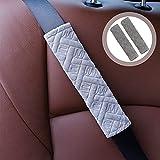 S SMAUTOP Funda para Cinturón De Seguridad para Coche, 2 Uds Esponjosa Almohadilla para El Hombro, Antideslizante, Protector De Cojín para Cinturón De Seguridad De Felpa, Universal (Gray)