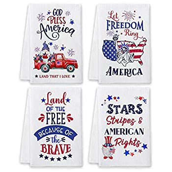 Bonsai Tree 4th of July Kitchen Towels and Dishcloths Sets of 4 Patriotic Red Truck Dish Towels Fourth of July American Flag Absorbent Tea Towels Housewarming Gifts Decor for New Home