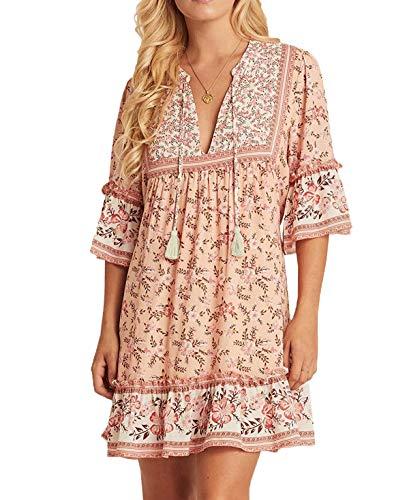 R.Vivimos Women's Summer Cotton Half Sleeve Ruffles V Neck Floral Print Tunic Dress (Large, Pink)