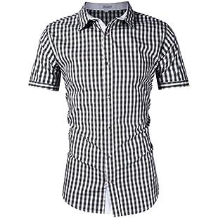 KOJOOIN Mens Shirt Checked Short Sleeve Slim Fit Shirt- 100% Cotton/World Cup/Oktoberfest/Plaid/Button Down/Casual Shirt Dark Black XL