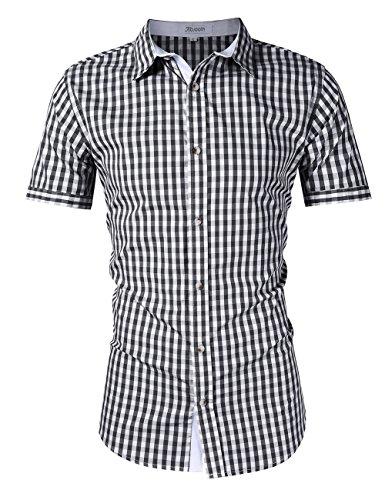 KOJOOIN Herren Trachtenhemd Slim fit kariert Langarmhemd Bestickt Baumwolle- (Verpackung MEHRWEG), Schwarz-kurzarm-2019, Gr.- M / 36