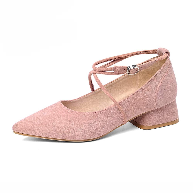 HWF レディースシューズ シングルシューズ女性レトロな浅い口を指差しミッドヒールクロスストラップ女性の秋の靴 (色 : Pink, サイズ さいず : 36)