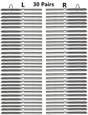"Senmit Swage Lag Screws Left & Right 60 Pack for 1/8"" Cable Railing, 316 Stainless Steel Stair Deck Railing Wood Post Balusters System 30 Pairs"