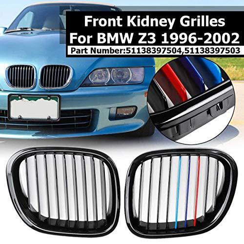 HOUGE 1 Paio Griglia Shiny Black & M Colore Auto del Rene Anteriore per BMW Z3 1996 1997 1998 1999 2000 2001 2002 Ricambio Corsa Griglia