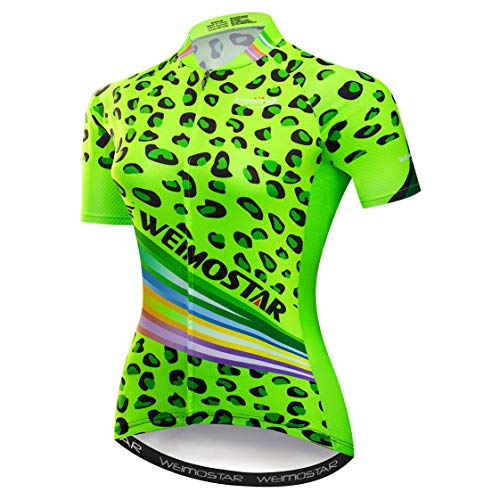 Cycling jersey Women Bike jersey zipper cycle Shirt Short sleeve Road Bicycle Clothing Pro team racing MTB Top for ladies female Racing mountain clothes breathable green Size XXL