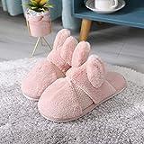 Pantuflas Térmicos de Invierno Suave,Nuevo Invierno de Piel de Conejo Gruesa Zapatillas de algodón cálido, Zapatos de casa Peludos-Pink_36-37,Chanclas algodón Pantuflas