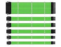 スリーブ付きケーブル、電源用PSU延長ケーブルキット、コーム付きファイバー編組ATX EPS PCI-Eケーブル、30CM (緑)