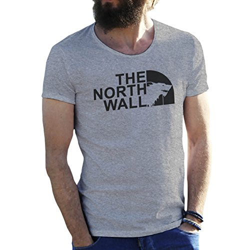 The North Wall With Wolf Game Of Thrones Gris Camiseta para hombre Medium
