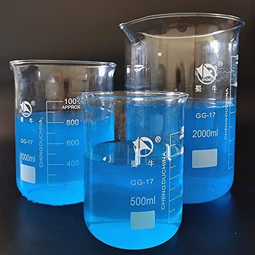WUTINGKONG 3 unids/Set 500/1000 / 2000ml Cubilete de Vidrio de borosilicato para Pruebas de Laboratorio, vitrinas volumétricas de Copa de medición para experimentos de Laboratorio