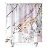 Marmor Duschvorhang Wasserdicht, Chickwin Waschbar Badewanne Vorhang aus Polyester, Bad Vorhang mit 12 Duschvorhangringen, Duschvorhänge für Badezimmer Decor (Rosa Weiß,180x200cm)