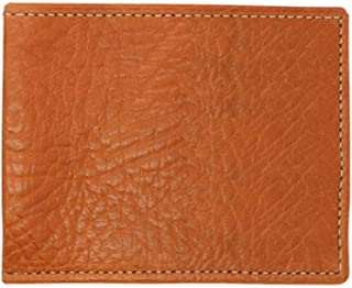 Cognac Genuine Leather Bifold Wallet - RFID Blocking – Arizona Bison Grain - Contrast Stitch - American Factory Direct - Slim Fold - Made in USA by Real Leather Creations FBA284
