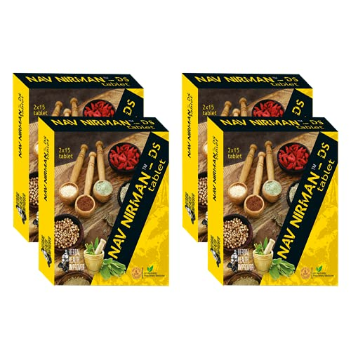 Ambic Nav Nirman DS Tablet I Ayurvedic Muscle Gain Tablets I Supports Healthy Weight Gain I Improves Strength & Stamina (Pack of 1) (Pack of 4 (2 Month Course))