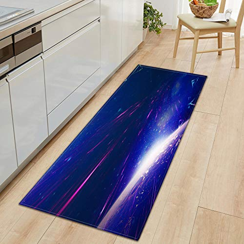 Carvapet Alfombras Cocina Lavable Antideslizante Alfombra de Baño Alfombrillas Cocina Felpudo Entrada Casa Grande Decoración Hogar Sala de Estar Dormitorio Meteoro Azul 40X120CM
