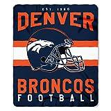 NFL Denver Broncos Singular Fleece Throw, 50-inch by 60-inch, Blue
