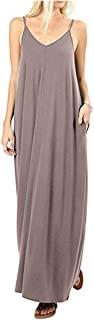 Women's Casual Loose Long Dress Solid Maxi Dresses with Pockets