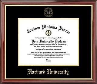 Laminated Visuals Harvard University Crimson - Embossed Seal - Mahogany Gold Trim - Diploma Frame