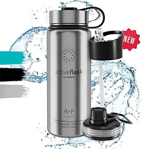 Trinkflasche Edelstahl ACTIVE FLASK + 3 Trinkverschlüsse - BPA frei, Auslaufsicher, Kohlensäure geeignet - Wasserflasche Thermosflasche Thermo Isoliert Isolierflasche Sport Wasser Flasche Kinder Tee