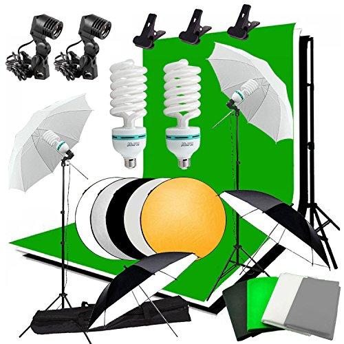 Abeststudio Photo Studio Éclairage continu Kit 2x135W Ampoule, 4x 1.6 * 3m Backdrops (Noir Blanc Vert de gris), 4x 2x Parapluie Lumière stand, 2 * 3m fond Support stand + 60cm 5 en 1 panneau réflecteur