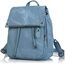 COSPLAYZ Female Backpack Preppy Style PU Leather Bag High Qulaity Shoulder Bag Fashion Ladies Candy Color Backpack Mochila School Bags,Blue