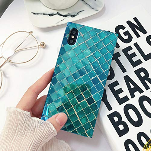 Mermaid Scale iPhone X Case, iPhone Xs Case, Square Shining Soft Emerald Mermaid Case for iPhone X/XS Case Sea Blue ray Holographic Glossy Full Protection Glitter TPU Back Cover