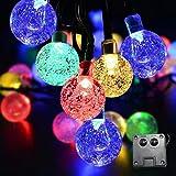 Zueyen Cadena de luces solar de colores, 50 ledes, 4 colores, impermeable, bolas de cristal para el hogar, terraza, fiesta, Navidad, decoración de jardín (multicolor)