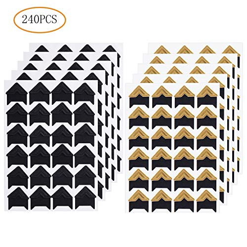 10 Sheets 240 PCS Photo Corners Stickers, Gold and Black Self Adhesive Photo Mounting Corners Sticker for DIY Scrapbook, Picture Album